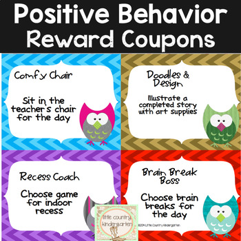 Classroom Reward Coupons: Chevron Owls Themed Positive Incentives