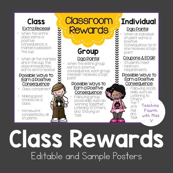 Classroom Rewards Explanations Poster: Individual, Group,