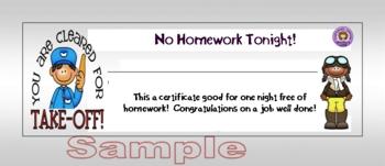 Classroom Rewards - No Homework, Star Student, & Outstanding Reader