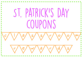 Classroom Rewards: St. Patrick's Day Coupons