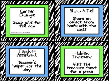 Classroom Rewards: Zebra Themed Positive Incentive Coupons