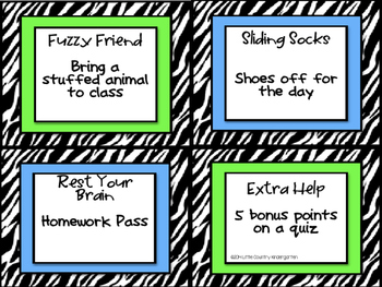 Classroom Reward Coupons: Zebra Themed Positive Incentives