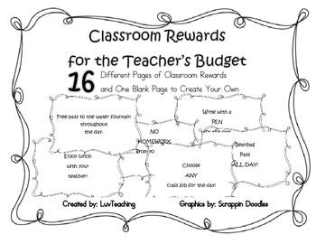 Classroom Rewards for the Teacher's Budget!
