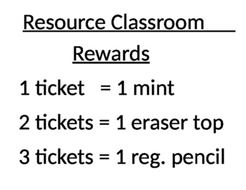 Classroom Rewards sign template
