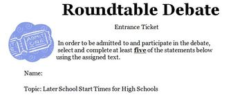 Classroom Roundtable Debate: Later School Start Times