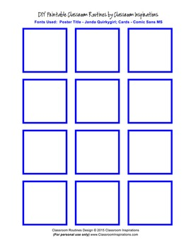 Classroom Routines Interactive Posters in Bright Blue and Black