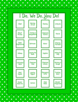 Classroom Routines Interactive Posters in Green