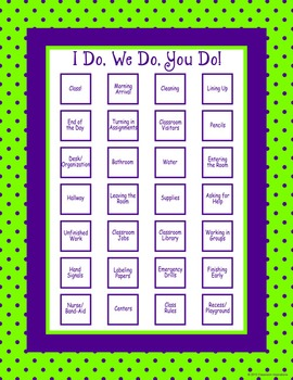 Classroom Routines Interactive Posters in Green and Purple