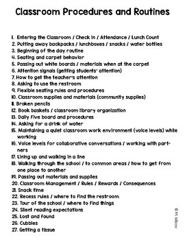 Back to School Classroom Routines and Procedures