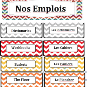 Classroom Routines and Roles Labels