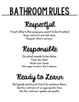 Classroom Rule / Expectations Posters
