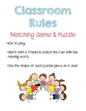 Classroom Rules Matching Game and Puzzle