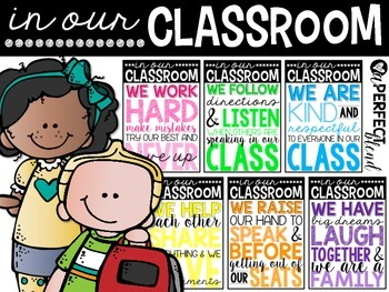 Classroom Rule Posters {Bright Subway Art Decor}