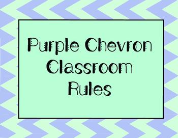 Classroom Rules Purple Chevron (FREEBIE!)