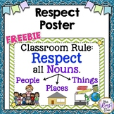 Respect Poster - Classroom Rule Poster - Respect All Nouns (FREE)