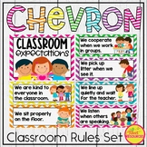 Classroom Rules and Posters Bundle in Chevron with Classroom Rules Writing!
