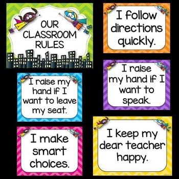Superhero Theme Classroom Rules ❤ Superhero Classroom Rules