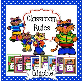 Editable Classroom Rules * Classroom Rules Cool Cat Theme