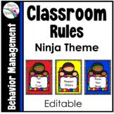 Classroom Rules Editable * Classroom Rules Ninja Theme