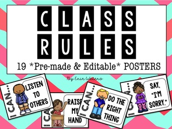 Classroom Rules {20 Posters: Pre-made & Editable!}