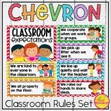 Classroom Rules Display {Primary Colors Chevron Classroom Decor Theme}