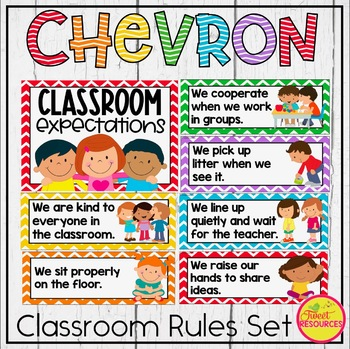 Classroom Rules Display {Primary Colors Chevron Classroom Decor Theme}