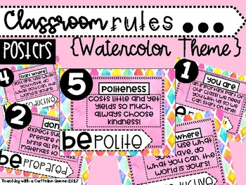 Classroom Rules - 5 Rules in the Watercolor Theme (pink)
