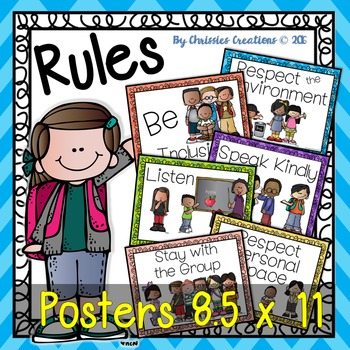 Classroom Rules 8.5 x11 posters in color and BW