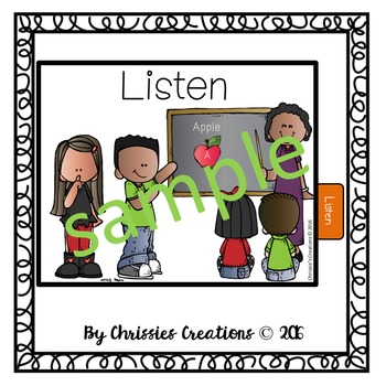 Classroom Rules 4x5 student social story cards in color and BW