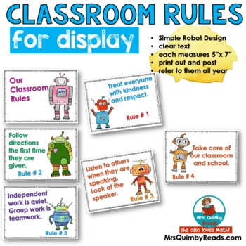 Classroom Rules -Anchor Charts to Display Rules-[Grades K-5]