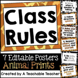 Classroom Rules Animal Print