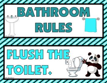 CLASSROOM DECOR: Classroom Rules, Decor, Aqua & Black Theme