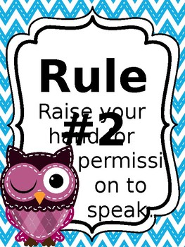 Classroom Rules & Attention Getters - Bright Owls - Editable