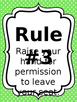 Classroom Rules & Attention Getters - Bright Polka Dot Editable