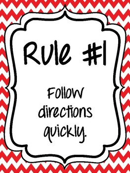 Classroom Rules & Attention Getters - Red Chevron
