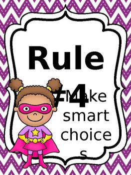 Classroom Rules & Attention Getters - Superhero - Editable