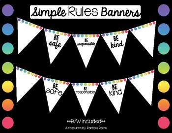Classroom Rules Banner- Color, Black & White