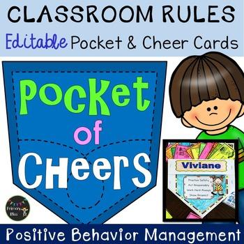 Classroom Rules Behavior Awards and Pocket Holder (Editable)