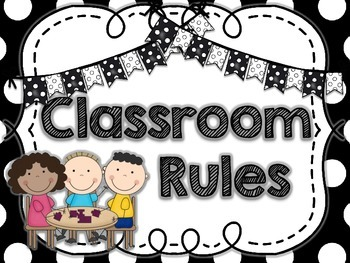 Classroom Rules- Black & White Polkadot