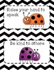Classroom Rules- Black and White Chevron Ladybug Theme