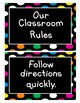 Classroom Rules (Black with Bright Polka Dots)