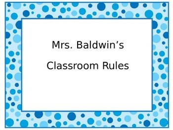 Classroom Rules Blue
