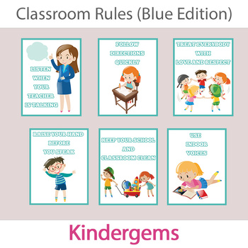 Classroom Rules (Blue Edition) Instant Download PDF; Preschool, Kindergarten