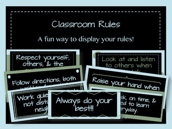 Classroom Rules - Blue and Green