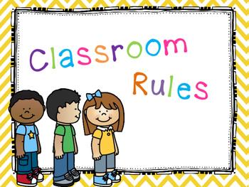 Classroom Rules Bright Chevron Theme