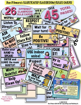 Classroom Rules Sign! 24 Big Cards With COLORFUL ILLUSTRATIONS!