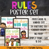 Classroom Rules Chalk Board Poster Set {Preschool and Primary grades} Editable