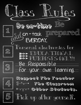 Classroom Rules Chalk Style