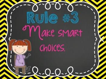 Classroom Rules- Chalkboard Neon Theme