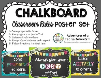 Classroom Rules Posters {Chalkboard Style}